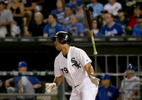 CHICAGO, IL - JUNE 10: Jose Abreu #79 of the Chicago White Sox hits a double in the seventh inning against the Kansas City Royals at U.S. Cellular Field on June 10, 2016 in Chicago, Illinois. (Photo by Dylan Buell/Getty Images) ** OUTS - ELSENT, FPG, CM - OUTS * NM, PH, VA if sourced by CT, LA or MoD **