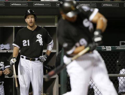 Todd Frazier watches Jose Abreu's at bat during the eighth inning against the Twins on June 28, 2016.