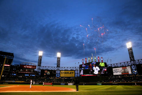 Fireworks are shot off as Jose Abreu tounds the bases after a home run against the Astros on May 17, 2016.