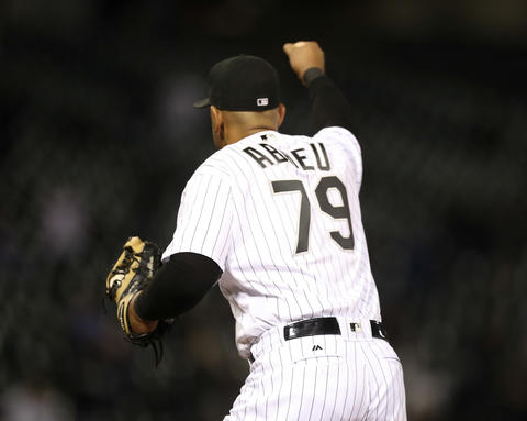 White Sox first baseman Jose Abreu pumps his fist at the end of the triple play against the Astros during the eighth inning at U.S. Cellular Field on May 18, 2016.