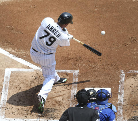 Jose Abreu singles against the Royals during the first inning at U.S. Cellular Field on May 21, 2016.