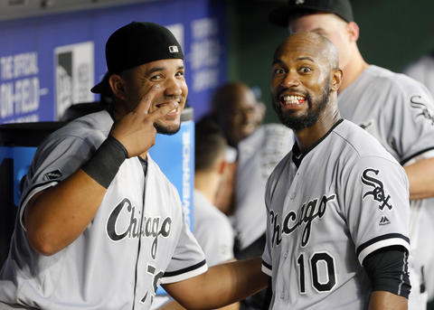 Jose Abreu and Austin Jackson (jokingly pose for a photo in the dugout before the first inning of a game against the Rangers on May 10, 2016.