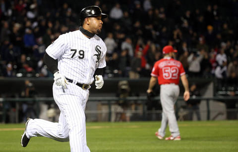 Jose Abreu hits a home run against Angels starting pitcher Matt Shoemaker in the fourth inning on April 19, 2016 at U.S. Cellular Field.