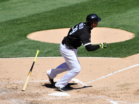 Jose Abreu watches after his home run against the Indians during the third inning on April 9, 2016 at U. S. Cellular Field.