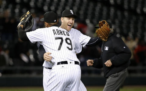 Jose Abreu and Todd Frazier celebrate the White Sox's 5-0 win over the Angels on April 19, 2016.
