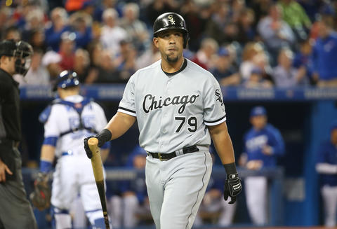 Jose Abreu reacts after being called out on strikes in the first inning against the Blue Jays on April 27, 2016.