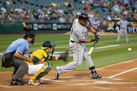 Jose Abreu singles against the Athletics during the first inning at the Oakland Coliseum on April 5, 2016.
