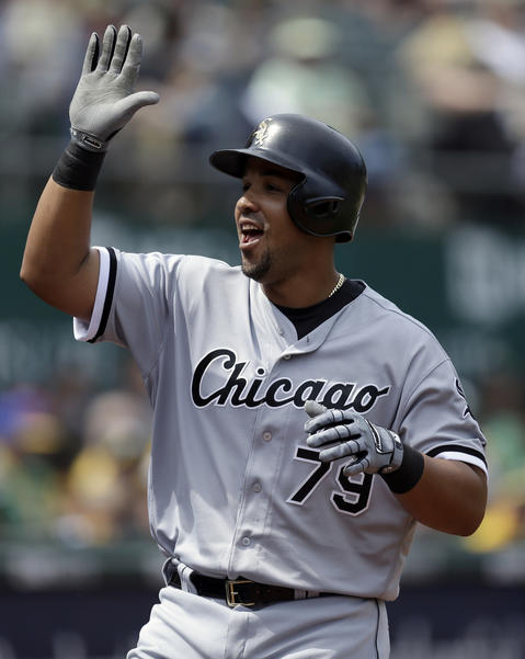 Jose Abreu celebrates after hitting a two run home run off Oakland's Kendall Graveman in the sixth inning on April 7, 2016.