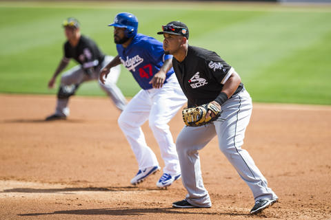 Jose Abreu defends his position during a spring training game against the Dodgers at Camelback Ranch on March 3, 2016.
