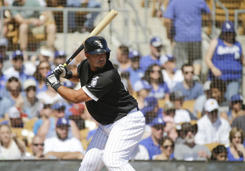 Jose Abreu watches a pitch during a game against the Dodgers on March 19, 2016.