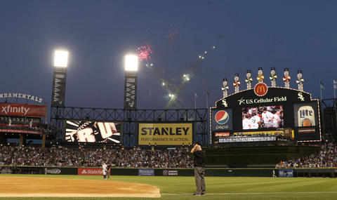 Fireworks explode after Jose Abreu's two-run home run against the Yankees in the third inning.