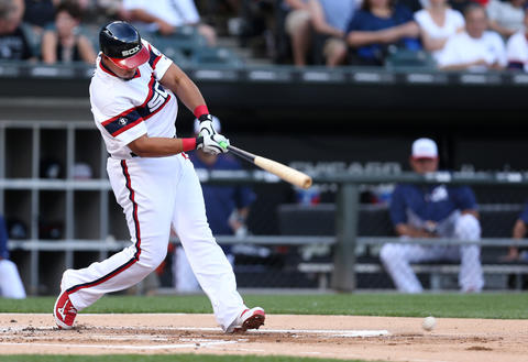 Jose Abreu drives in a run with a double in the first inning against the New York Yankees at U.S. Cellular Field.