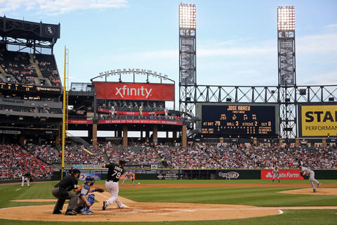 An overall view and the grandstands as Blue Jays starting pitcher Mark Buehrle delivers to Jose Abreu in the first inning.