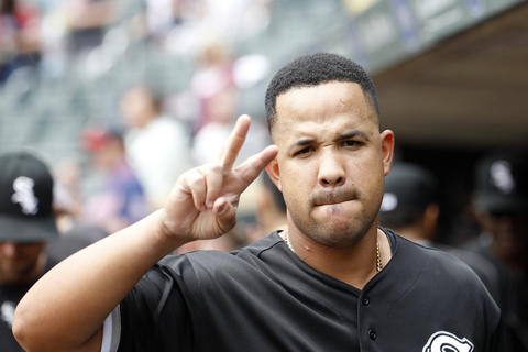 White Sox first baseman Jose Abreu gestures in the dugout before a game against the Twins.