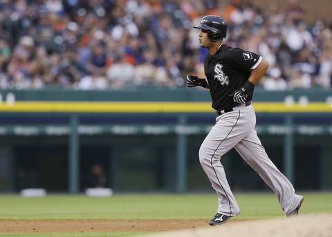 Jose Abreu rounds the bases on a solo home run off Tigers starting pitcher Anibal Sanchez during the third inning.