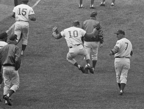 Chicago Cubs third baseman Ron Santo clicks his heels after his ninth-inning sacrifice fly allowed the winning run to score for a 5-4 victory over the Pittsburgh Pirates, in Chicago on June 24, 1969.