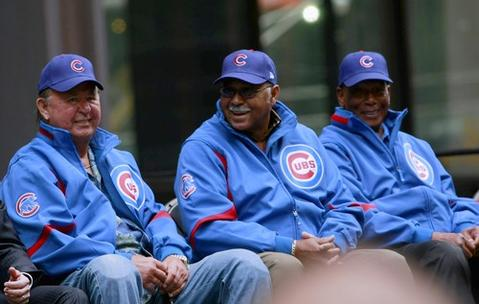 Ron Santo, Billy Williams and Ernie Banks attend the Cubs rally at Daley Plaza.