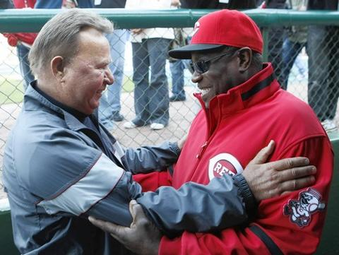 Ron Santo greets former Cubs (now Reds) manager Dusty Baker before the start of a game at Wrigley.