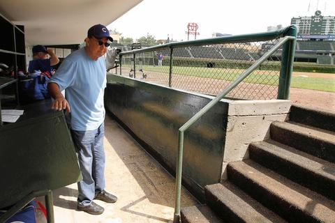 Ron Santo in the Cubs dugout before a game.