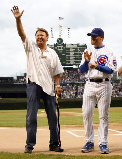 Ron Santo, with Ryan Dempster on his right, is honored for his 50 years in major league baseball.
