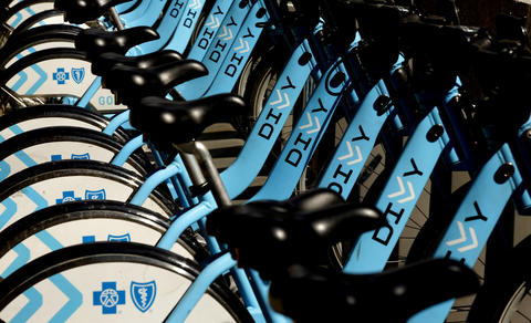 Divvy bikes lined up at a station on Dearborn Street on April 13, 2016.