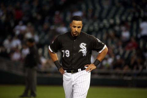 Jose Abreu walks off after grounding out with runners on base to end the first inning against the Indians on May 23, 2016 at U.S. Cellular Field.