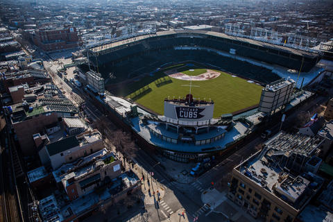 Construction at Wrigley Field in Chicago is shown in an aerial view Jan. 27, 2016.