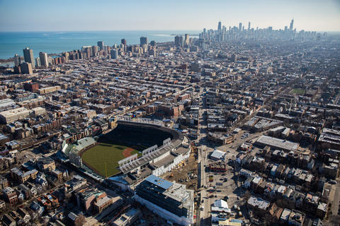 An aerial view from Jan. 27, 2016, shows construction in and around Wrigley Field in Chicago.