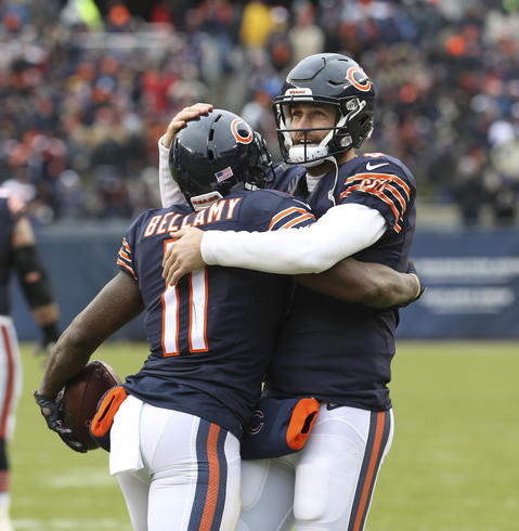 Josh Bellamy celebrates with Jay Cutler after his touchdown against the Lions during the second half.