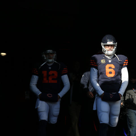 Chicago Bears quarterback Jay Cutler walks to the field before a game against the San Francisco 49ers at Soldier Field Sunday, Dec. 6, 2015, in Chicago.