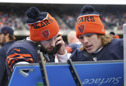 Chicago Bears quarterback Jay Cutler, left, and Bears quarterback David Fales confer with each otherlate in the fourth quarter of their game against the San Francisco 49ers, at Soldier Field in Chicago, on Sunday, Dec. 6, 2015.
