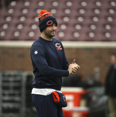 Jay Cutler smiles during warmups before a game against the Minnesota Vikings.