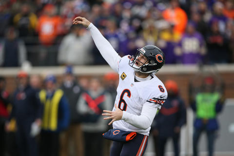 Jay Cutler closes his eyes after throwing a pass during the second half of a game against theVikings.