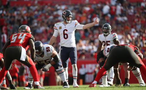 Bears quarterback Jay Cutler runs the offense in the fourth quarter Sunday, Dec. 27, 2015 at Raymond James Stadium in Tampa. The Bears defeated the Bucs, 26-21.