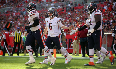 Bears quarterback Jay Cutler celebrates his touchdown pass in the fourth quarter Sunday, Dec. 27, 2015 at Raymond James Stadium in Tampa.
