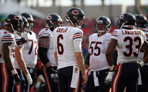 Bears quarterback Jay Cutler in the huddle Sunday, Dec. 27, 2015 at Raymond James Stadium in Tampa. The Bears defeated the Bucs, 26-21.