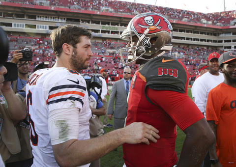 Bears quarterback Jay Cutler speaks with Tampa Bay Buccaneers quarterback Jameis Winston at the end of their game at Raymond James Stadium on Sunday, Dec. 27, 2015.