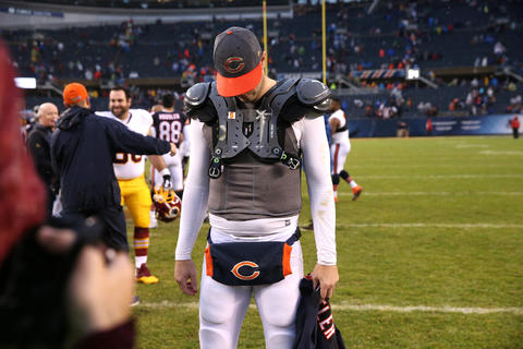 Bears quarterback Jay Cutler heads to the locker room after the 24-21 loss to the Redskins.