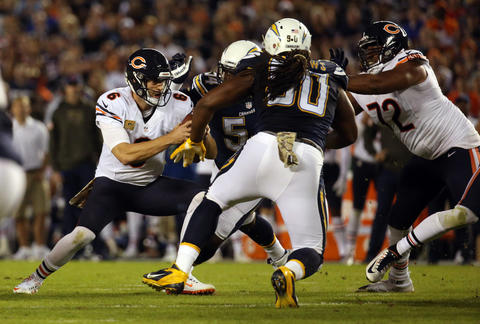 Jay Cutler is sacked by the Chargers defense and fumbles in the first quarter.