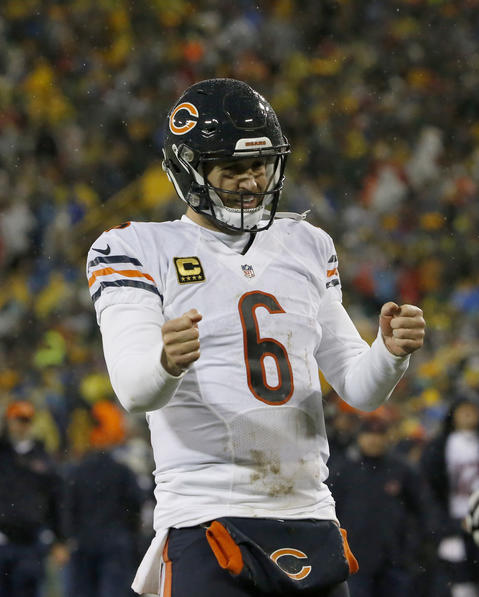 Jay Cutler after throwing a touchdown pass to Zach Miller against the Green Bay Packers.