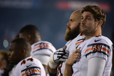 Jay Cutler looks on during pregame festivities before playing the Chargers at Qualcomm Stadium.