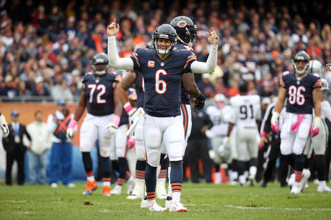 Jay Cutler can't believe the call after he was sacked in the second quarteragainst the Raiders.