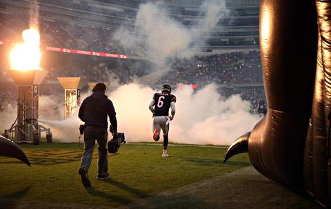 Bears quarterback Jay Cutler takes the field.
