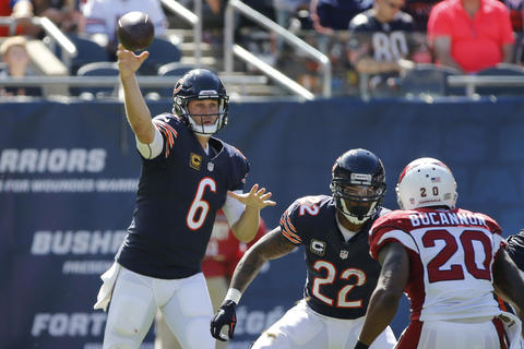 Jay Cutler throws an interception in the second quarter as it is picked off by the Cardinals' Tony Jefferson.