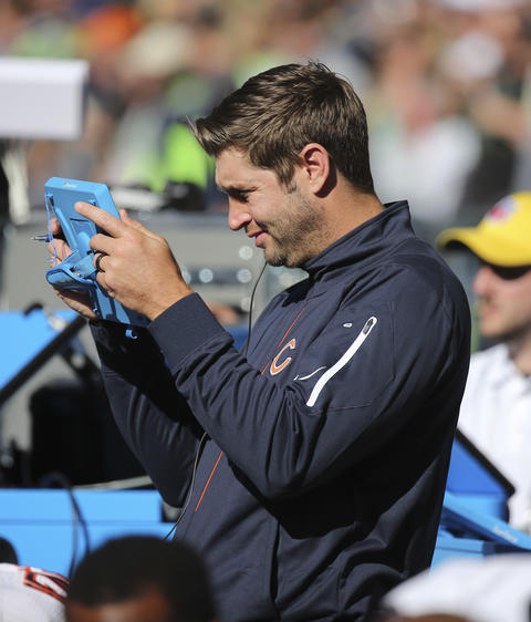 Jay Cutler on the sidelines for the Bears' Week 3 game against the Seahawks.