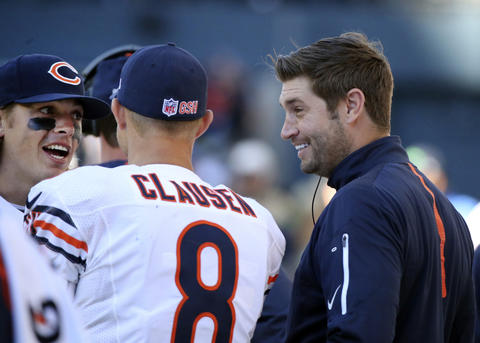 Bears quarterbacks David Fales, Jimmy Clausen and Jay Cutler during the game against the Seahawks.