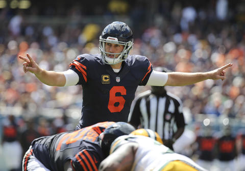 Jay Cutler during the first half of agame against the Green Bay Packers.