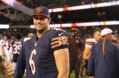 Bears quarterback Jay Cutler flashes a smile after a preseason game against the Browns at Soldier Field.