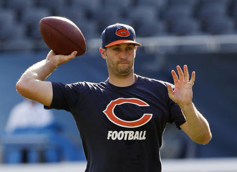 Bears quarterback Jay Cutler warms up before a preseason game against the Browns at Soldier Field.