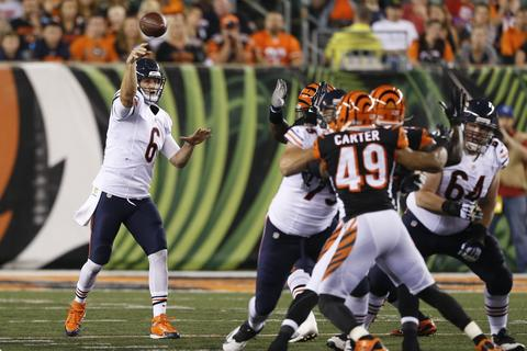 Bears quarterback Jay Cutler throws in a preseason game against the Bengals.